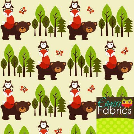 Emrose Designs, LLC - Emrose Fabrics Forest Friends Organic Cotton Knit, $12.50 (http://www.emrosedesigns.com/emrose-fabrics-forest-friends-organic-cotton-knit/)
