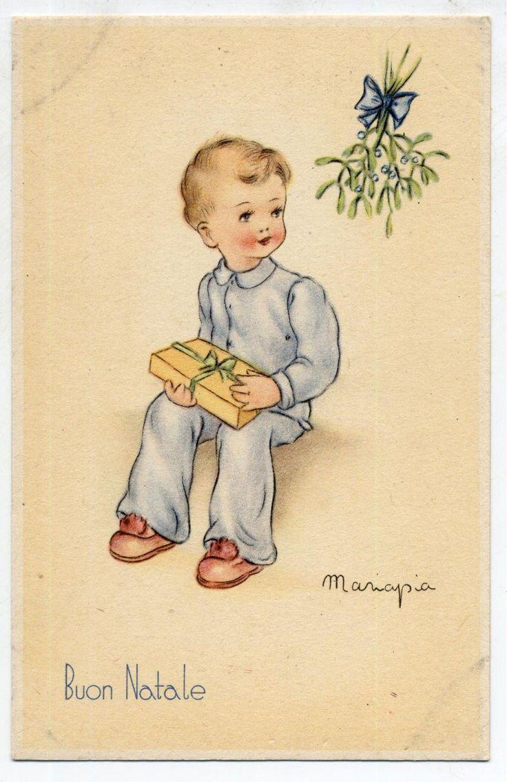 MARIAPIA Buon Natale Bambino con Pacchetto Dono PC circa 1940 ITALY | eBay