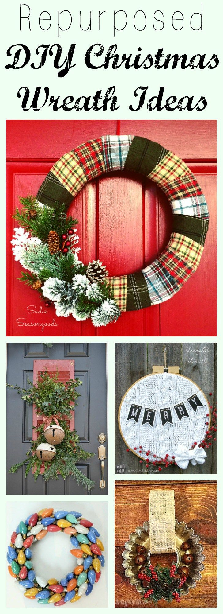 I absolutely LOVE repurposed and upcycled DIY Christmas wreaths- they're festive and unusual, with vintage and unexpected pieces. So many different craft project ideas here with colors and textures that are perfect for Christmas! I think the upcycled flannel shirt or Christmas ornament wreath are my favorites. Get all these ideas in a single post compiled by Sadie Seasongoods / www.sadieseasongoods.com