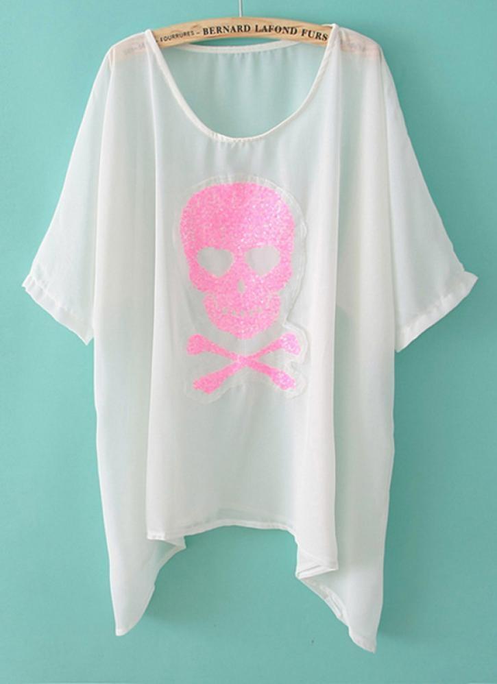 Pink Screenprint Tee - Pink Skull Sequins
