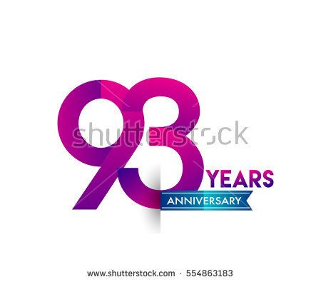 ninety three years anniversary celebration logotype colorfull design with blue ribbon, 93rd birthday logo on white background