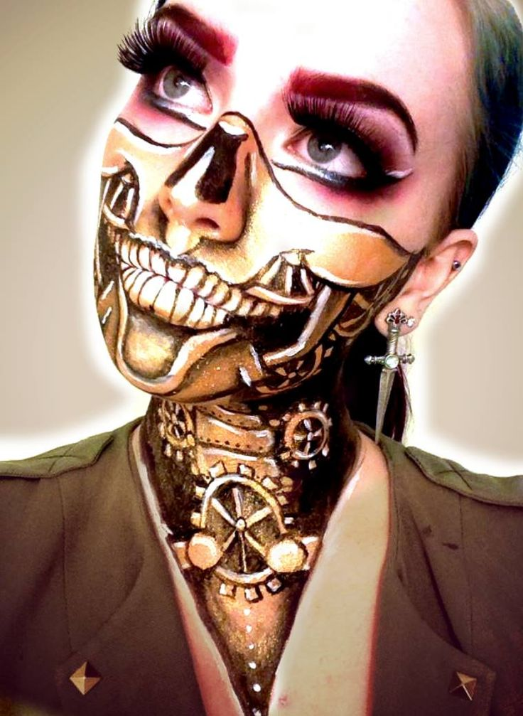 creepy clock work face paintmakeup perfect for steam punk or halloween skeleton - Skeleton Face Paint For Halloween