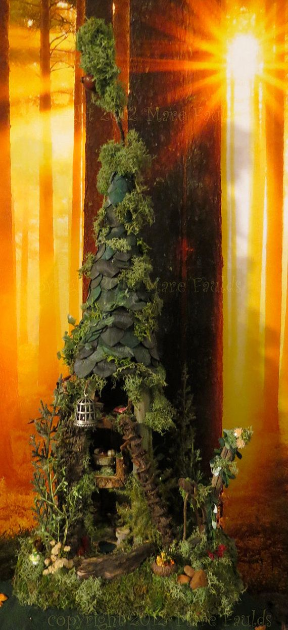 Fairy House - Fairy Tree House Woodland Miniature by WoodlandFairyVillage, $74.99