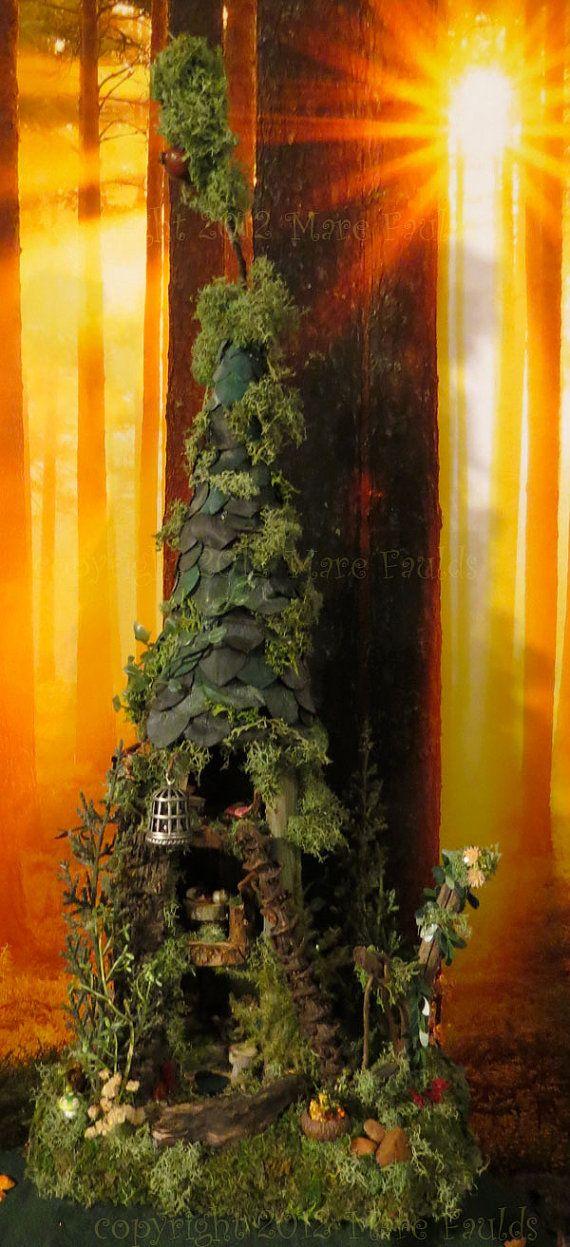 Fairy House - Fairy Tree House Woodland Miniature by WoodlandFairyVillage, $74.99