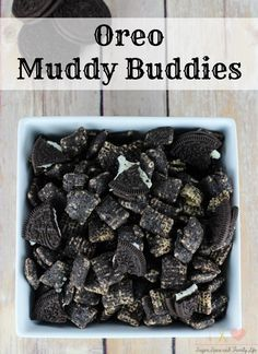 Oreo Muddy Buddies aka Oreo Puppy Chow are a delicious sweet snack. Chex rice cereal is covered in melted white chocolate and crushed Oreo cookies. Everyone will love them and Oreo lovers won't be able to stop eating them. - Oreo Muddy Buddies Recipe on Sugar, Spice and Family Life