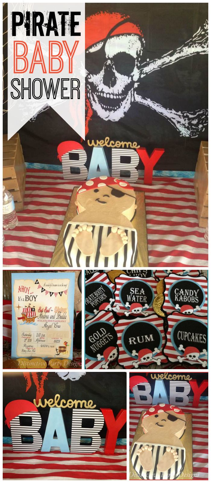Have you ever seen a pirate themed baby shower? This one is very fun! See more party ideas at CatchMyParty.com!