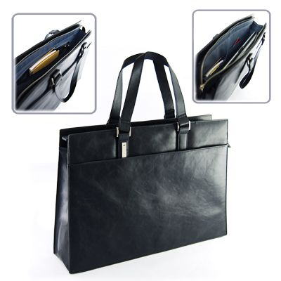 """Document bag with zipper compartment suitable for 13"""" laptop. Features 2 pockets, a zipper compartment on the inside and front compartment"""