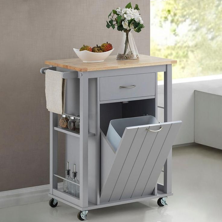 Baxton Studio Yonkers Gray Kitchen Cart With Wood Top In