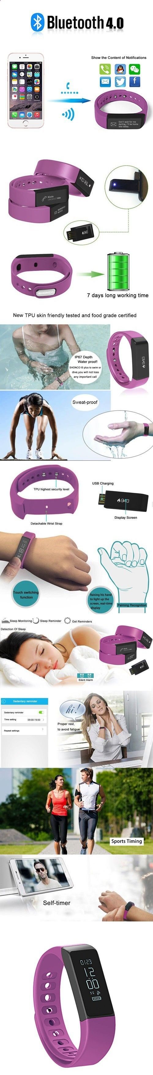 Activity Bracelets Fitness - Fitness Tracker Pedometer SHONCO I5 Plus Waterproof Bluetooth Activity Tracker Smart Sports Band Bracelet Wristband with Touch Screen Calories Counter Health Sleep Monitor for iPhone Android Phones - The benefits of wearing these smart bracelets are not only in your comfort, but also in that they are able to control all your physical progress