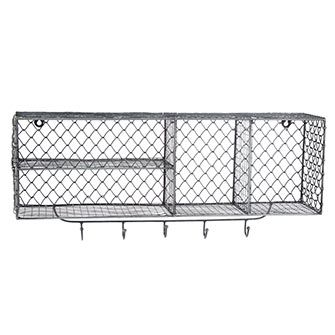 Pewter-Tone Wire Storage Mounted Shelf