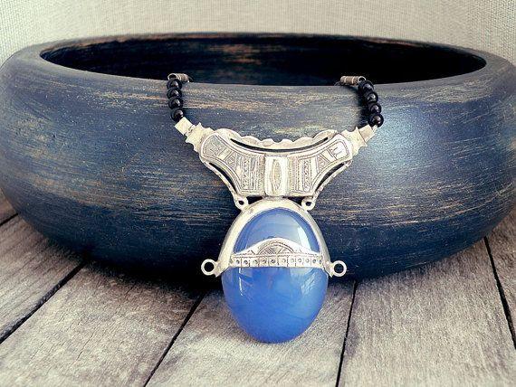 Tuareg jewelry tuareg necklace Afghan jewelry onyx by CarmelaRosa