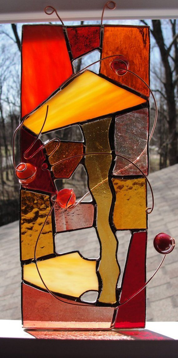 Abstract Stained Glass Panel by SquidStuffis on Etsy, $35.00