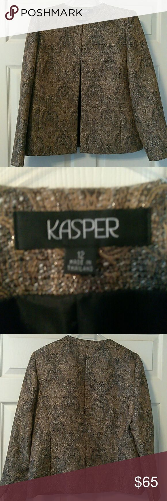 Kasper suit jacket Gold, brown and black brocade suit jacket with a fleur de lys pattern. Worn once and in perfect like new condition. Pet and smoke free home. Kasper Jackets & Coats Blazers