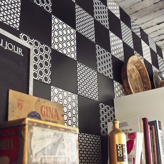 Décor Astuce hexagone noir noir n°0, l.20 x L.20 cm