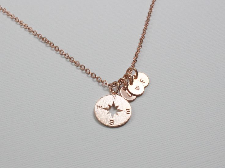 Compass Necklace | Initial Necklace | Graduation Gift | Best Friends Gift | Gift for Her | Tiny Disc Necklace | No Matter Where Necklace http://etsy.me/2EiqIhf #jewelry #necklace #graduation #personalized #bridesmaidgift #birthdaygift #rosegold #gold #customnecklace