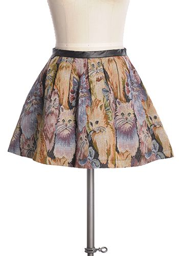 Turn up the cute! Adorable tapestry style short pleated cat skirt with back zipper and black waistband. 60% cotton, 40% polyester Not stretchy Not lined Fits small at waist Indie, Retro, Party, Vintage, Plus Size, Convertible, Cocktail Dresses in Canada Cat Stop the Beat Skirt -
