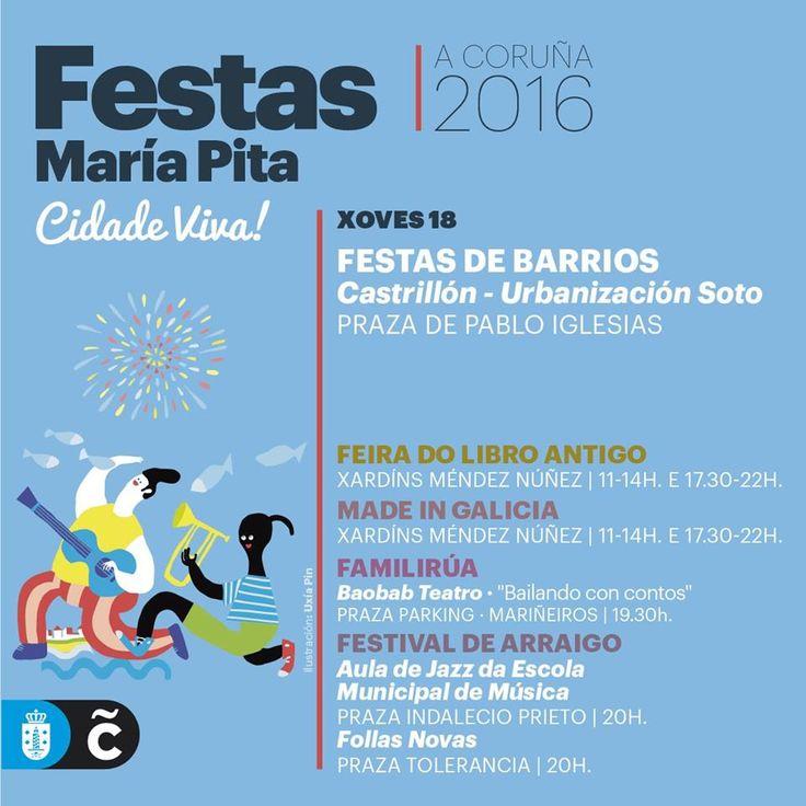 #MaríaPita16 | Na programación de hoxe, festas de Castrillón-Urbanización Soto e #FamiliRúa