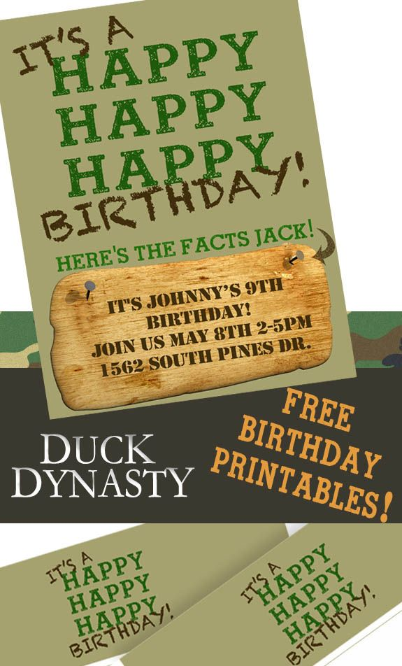 Free Printable Duck Dynasty Invitation and water bottle labels!