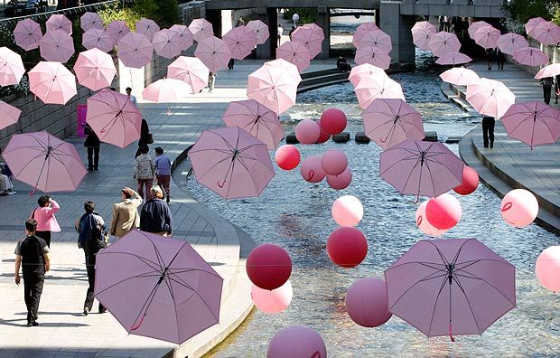Flying Umbrellas - Installation art to promote a campaign to raise funds for cancer in a street in Seoul, South Korea (AP)