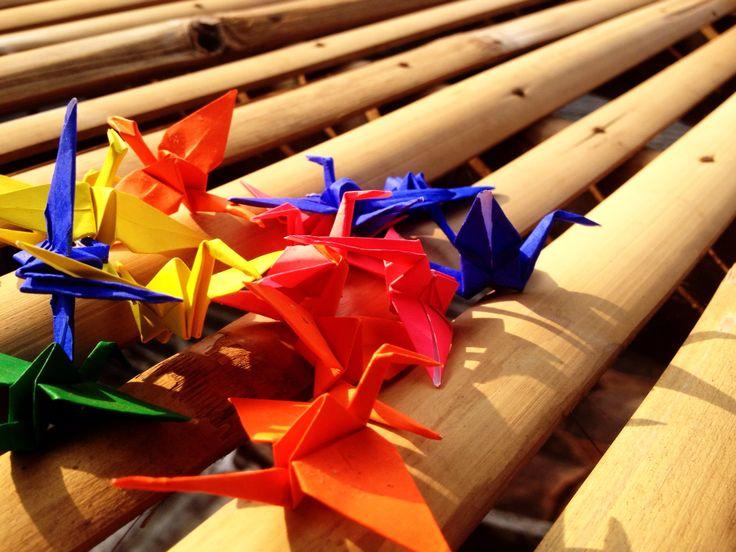 Origami - rainbow paper crane