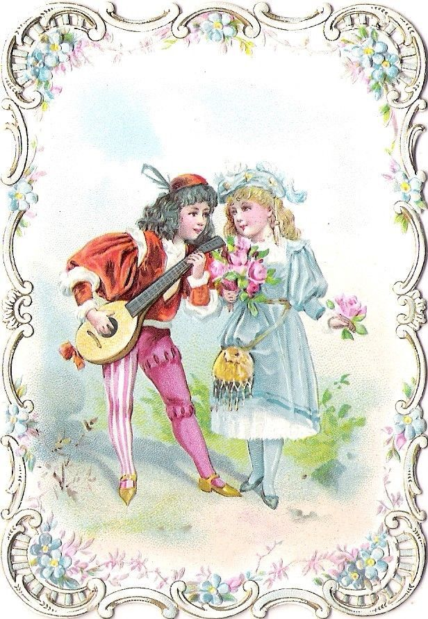 Oblaten Glanzbild scrap diecut chromo Karte card couple Paar Kind girl boy gold: