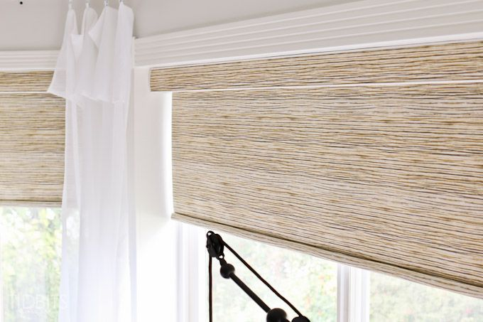 Affordable textured jute-like roller shades - as seen in TIDBITS master bedroom reveal.  Shades from blinds galore.com
