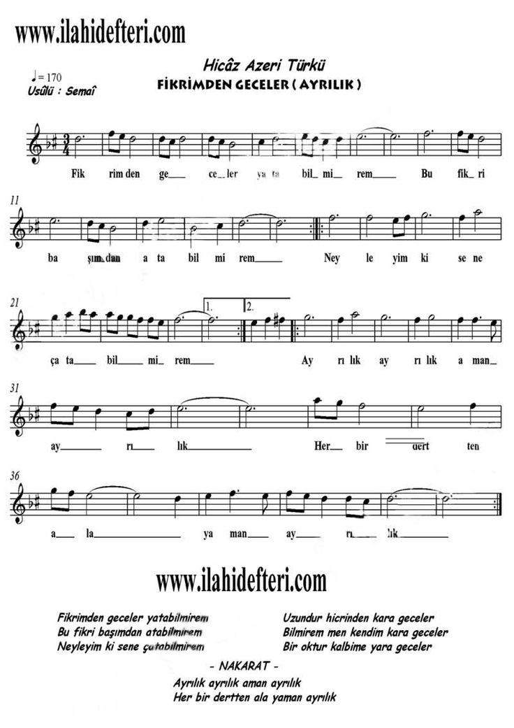 Fikrimden Geceler Yatabilmirem Ayrilik Hicaz Notasi Indir Muzik Teorisi Notalara Dokulmus Muzik Flut