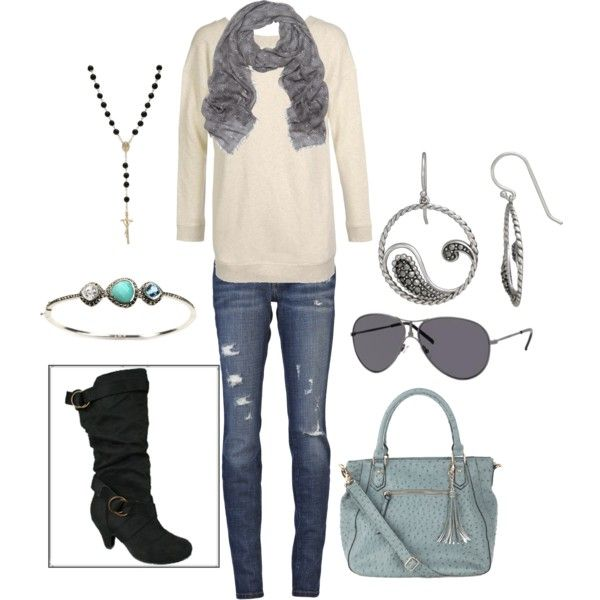Gray blue. Love the purse: Fall Clothing, Weekend Outfit, Gray Blue, Fashion Styles, Black Boots, Girls Fashion, Fall Outfit, Polyvore, Styles Clothing