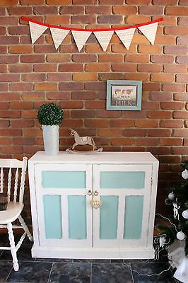 ANTIQUE SIDEBOARD CUPBOARD, SHABBY CHIC, FRENCH COUNTRY, WHITE, AQUA