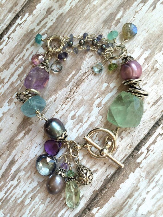 Chunky Blue Green Purple Gemstone Bracelet with Dangle Charms