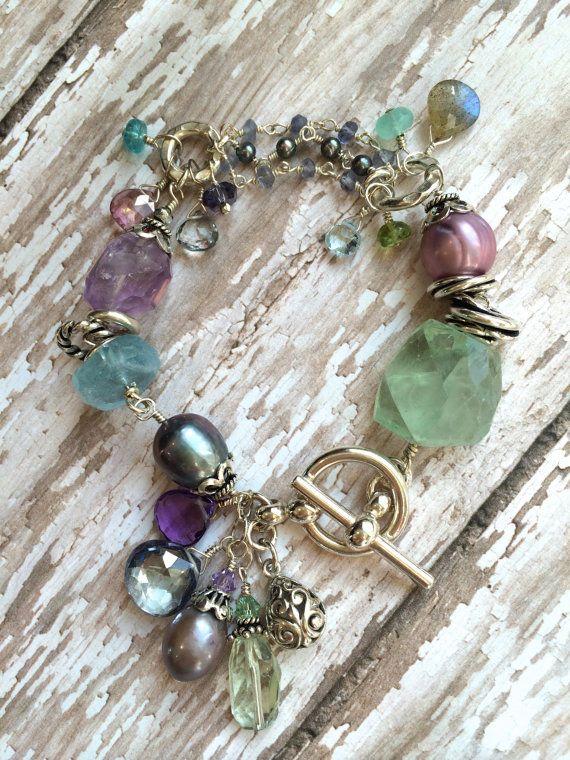 Chunky Pierre violet vert bleu Bracelet avec par leslielewisdesigns