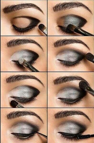 Smokey eye en negro, gris y blanco