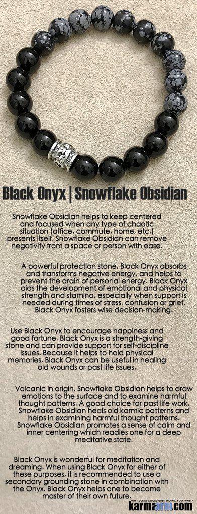 Bracelets I Mens Womens Beaded & Charm Yoga Mala I Meditation & Mantra I Spiritual. Black Onyx Snowflake Obsidian. #LOA