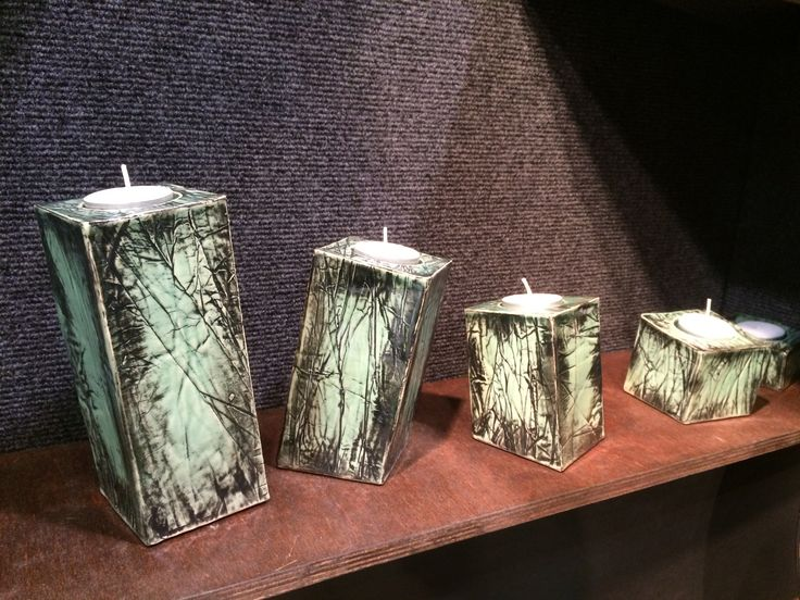 I love these tea light candle pillars by Dave Parry, Whistle Post Pottery. They are so lively and expressive!