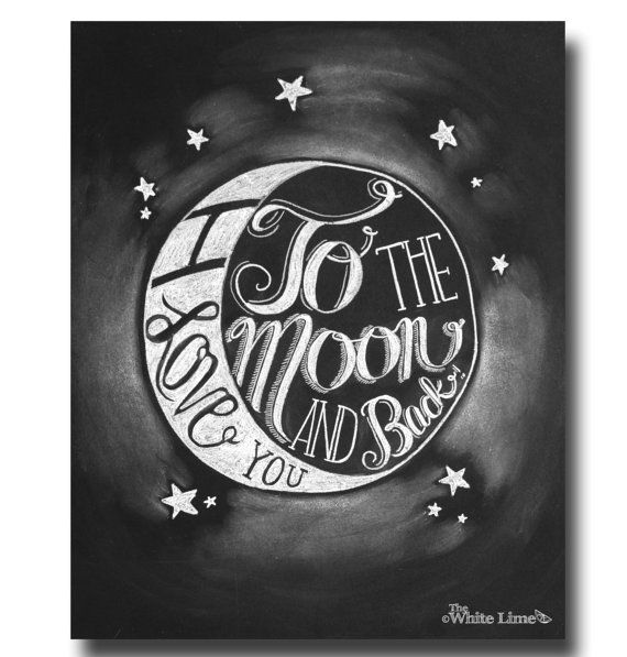 I Love You To the Moon and Back Chalk Art Print Chalk Typography Hand Lettering Nursery Decor Nursery Print Chalkboard Art Wedding Sign