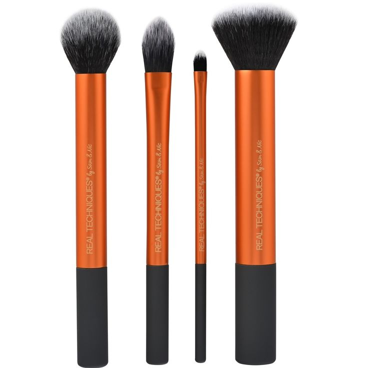 real techniques core collection - Buffing Brush rec for bare minerals powder foundation & contour brush rec for blending in concealer after dabbing on (Kathleen Lights), pointed foundation used for blending in concealer (TrinaDuhra)
