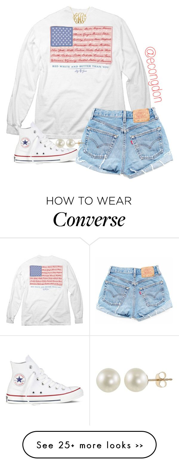 """merica"" by econgdon on Polyvore featuring Converse and PearLustre by Imperial"