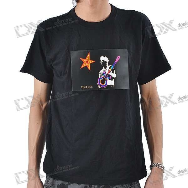 Sound and Music Activated Guitar Player Velcro EL Visualizer T-shirt - L (4*AAA)