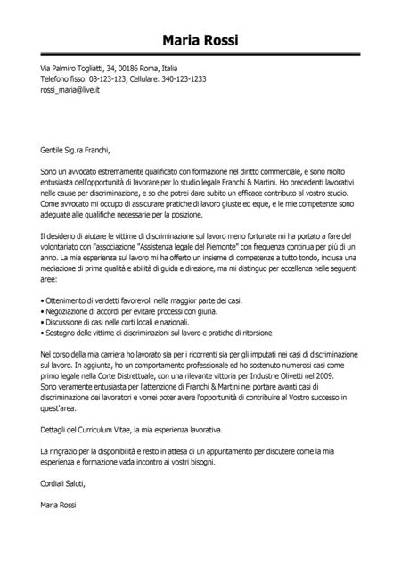 esempio lettera di presentazione avvocato