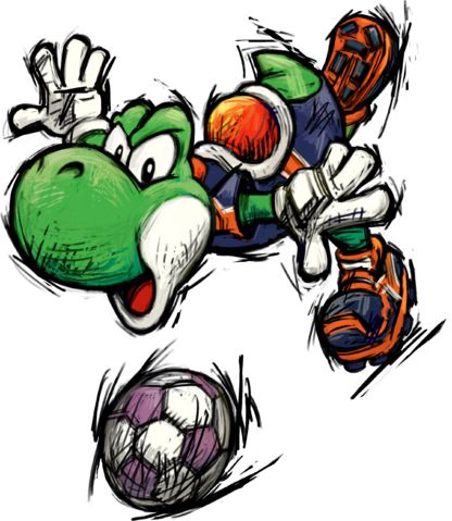 Yoshi, as seen in Super Mario Strikers.