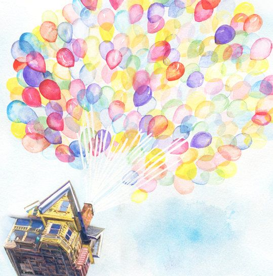 "Giclee Print of ""Up Balloons"" - Watercolor Painting by ... Up House Pixar Drawing"