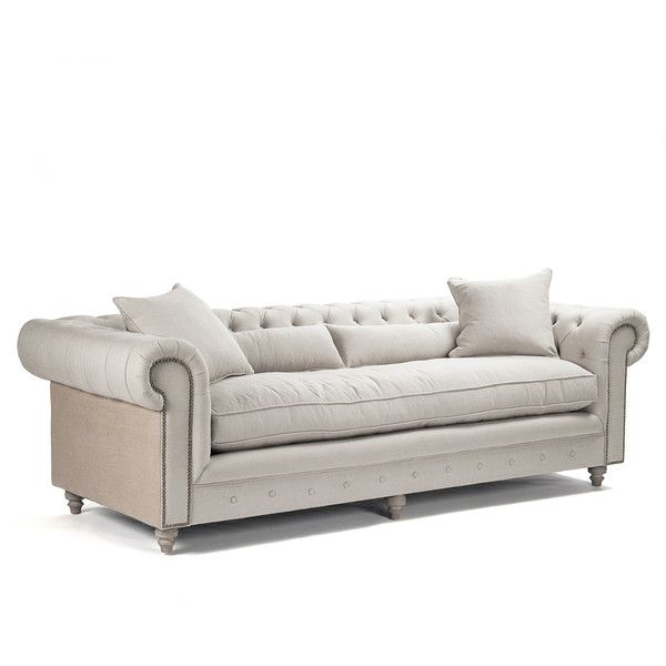 Alaine French Country Burlap Linen Chesterfield Nail Head Sofa   Polyvore