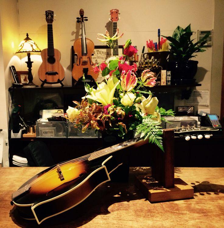 Kentucky mandolin with flowers from Ireland.