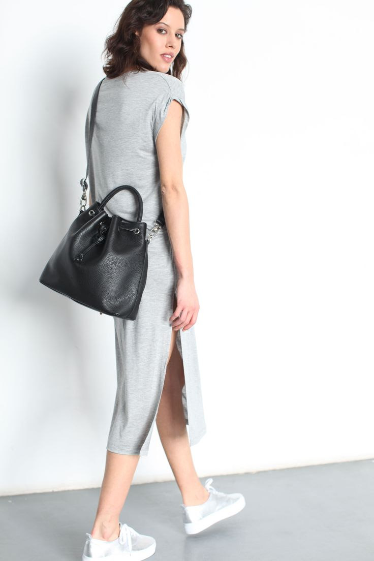 """Charlie Bucket Bag"" Black Pebbled Leather (full grain) by morelebags"
