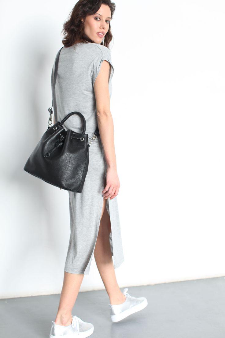 """Charlie Bucket Bag"" Black Pebbled Leather (full grain) by morelebags"