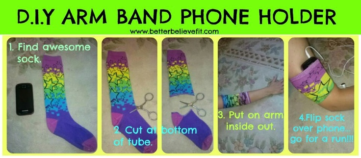 DIY arm band phone holder...I did this with a tube sock and it worked great even while jogging!