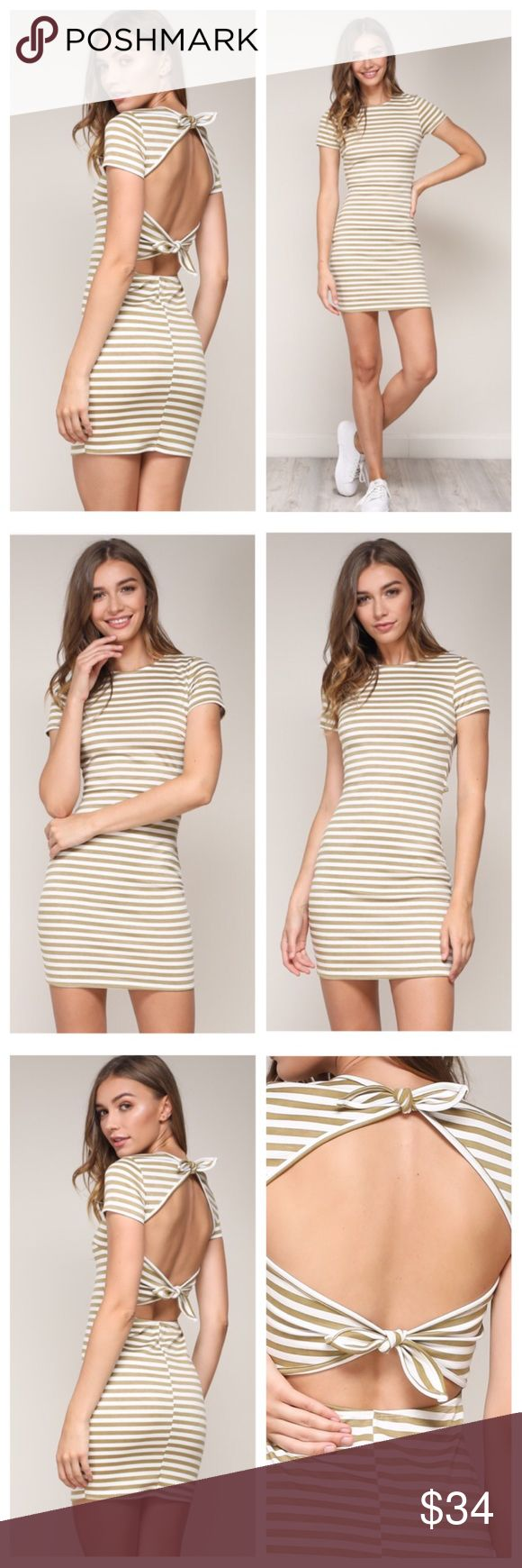 Striped Bodycon Dress, Tie-Back - Bodycon Mini Dress - Tie Back Detail - Soft and Comfortable - *This dress runs True to Size* - MADE IN USA Dresses Mini