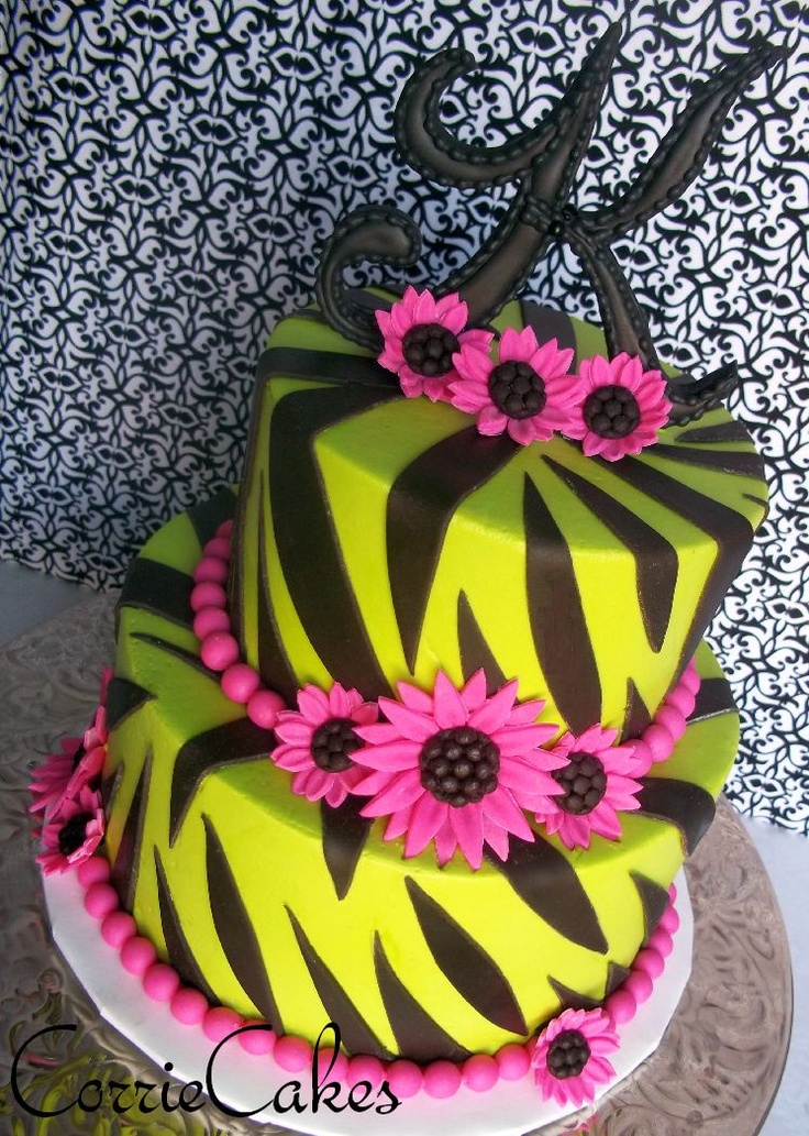 Girly Birthday Cakes Neon Pink Green Purple And Black