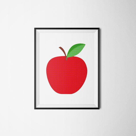 Red APPLE fruit frukt äpple retro Art print A3 by Itchyprints