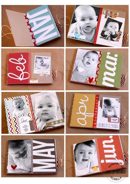 Sencillo Mini album con total protagonismo de la fotografía. Ideal para un album del primer año de un bebé :)